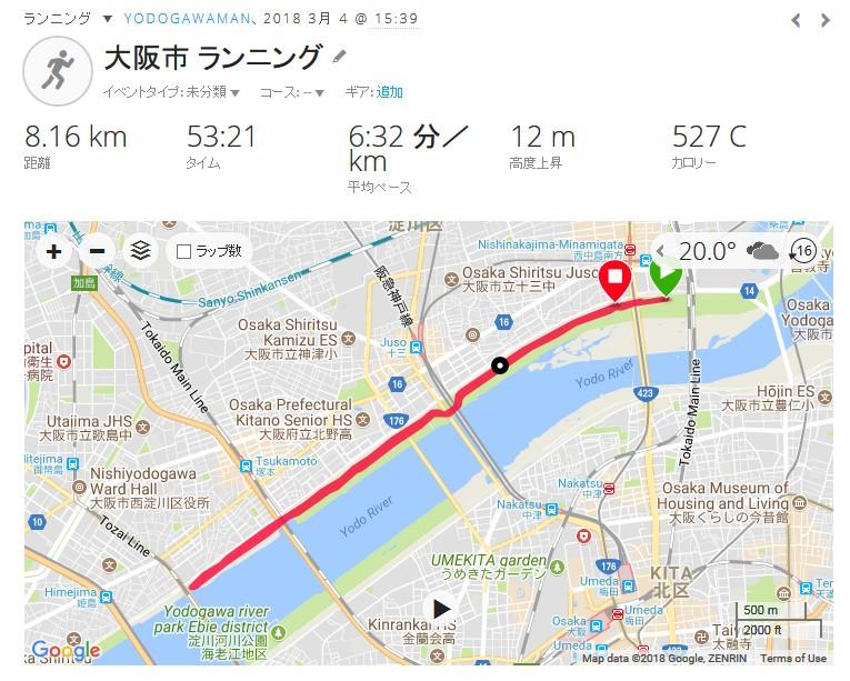 淀川ランニング-2018.3.4